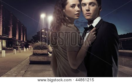Elegant couple at night