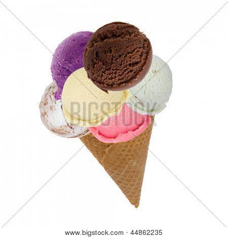 Ice cream scoops on cone