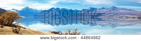 Panorama Landscape of Mountain Cook with its reflection in Lake New Zealand