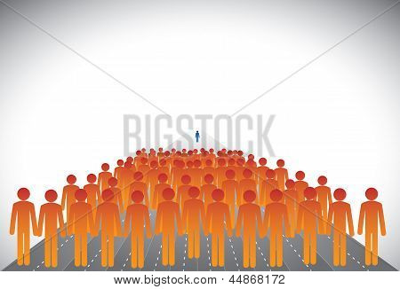 Crowd Of Followers & Leader Or Employees & Manager-concept Vector