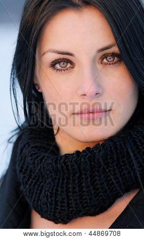 Brunette girl portrait - winter cold effect