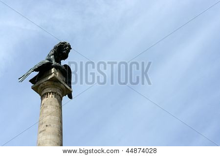 Sculpture of lion and eagle in Oporto, Portugal