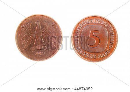 Pre-EWG jetzt nicht in Gebrauch, isolated on White deutsch 5-Mark-Münze