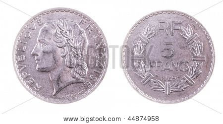Pre EEC French 5 Franc coin isolated on white