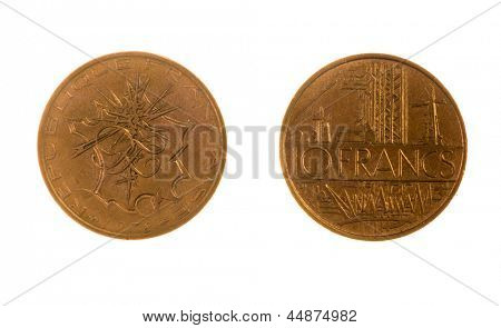 Pre EEC French 10 Franc coin isolated on white