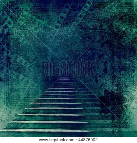 Stone Stairs In The Old Paper Background With Slides