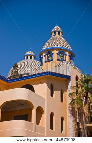 Colorful Tile Domed Mexican Building