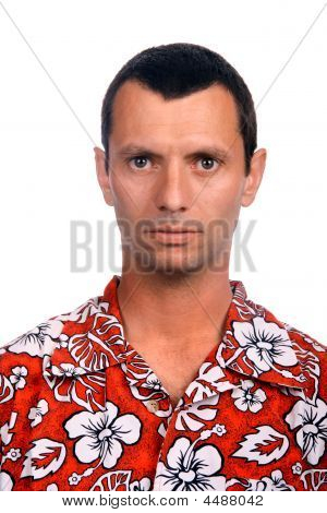 Tourist Man Over White Background