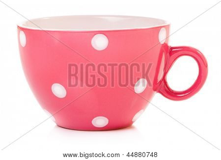 Empty big mug polka dot, isolated on white background
