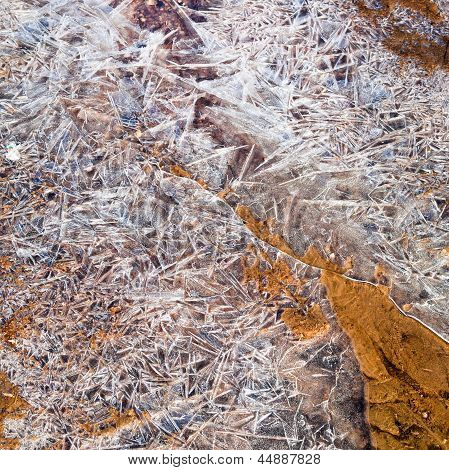 Ice Crystals Of Frozen Water On Ground