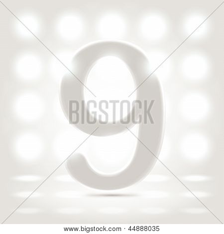 9 Over Lighted Background