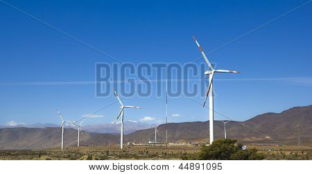 Wind Turbines On A Wild Field.