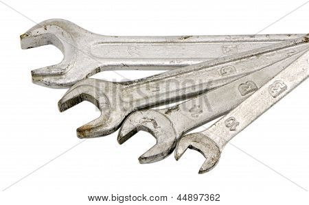 Collection Size Wrench Screw Tools Isolated