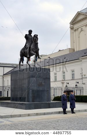 WARSAW, POLAND - APRIL 13: Changing of the guard at the Polish Presidential Palace on April 13, 2013 in Warsaw, Poland. Palace is the seat of the Polish president.