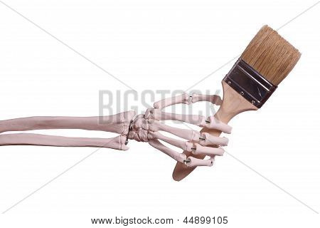 Skeleton Hand Holding Paint Brush