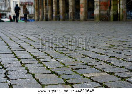 Pavement of granite in the Portuguese city Oporto