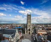 Saint Bavo Cathedral (Sint-Baafskathedraal) and Sint-Baafsplein, view from Belfry. Ghent, Belgium