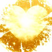 stock photo of gold glitter  - soft golden heart with some glitters on it - JPG