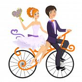 picture of tandem bicycle  - Couple in love on tandem bicycle - JPG