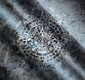 foto of mayan  - Background in American Indian Style with Mayan calendar on old stone - JPG
