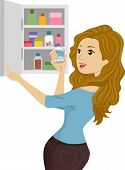 Illustration of a Girl opening a Medicine Cabinet