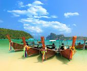 Long tailed boat Ruea Hang Yao in Phi Phi island Thailand