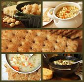 Soup and cracker collage includes freshly baked garlic cheese crackers, chicken noodle soup, whole g