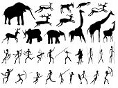 stock photo of prehistoric animal  - Set of pictures of people and animals in the prehistoric period  - JPG