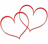 image of two hearts  - Two red linked hearts on white background - JPG