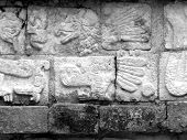 foto of conquistadors  - Mayan glyphs on the walls at Chichen Itza in Yucatan Mexico Eagle - JPG