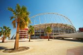 stock photo of qatar  - Outside Khalifa sports stadium in Doha Qatar Middle East where the 2006 Asian games were hosted and location for the proposed 2016 Olympic Games  - JPG