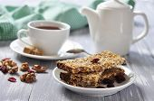 image of roughage  - Muesli Bars on plate with nuts and dried fruits - JPG