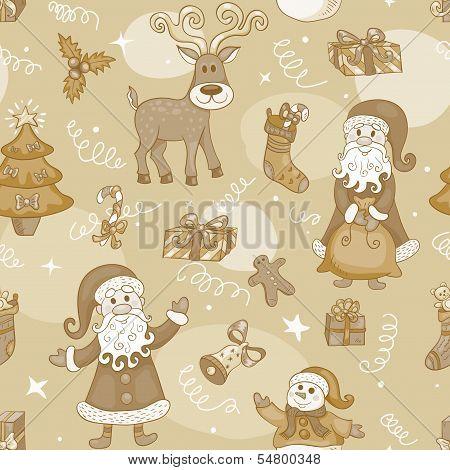 Sepia holiday seamless pattern.