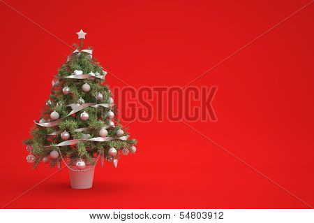 Christmastree On Red Background