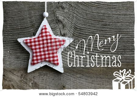 Merry Christmas Message Decoration White Wooden Star Gingham Fabric Pattern