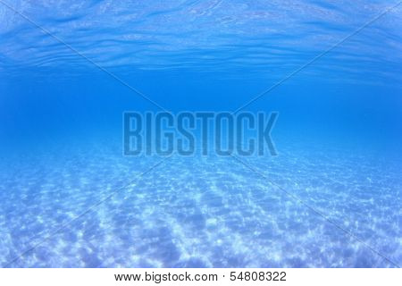 Underwater ocean background with sandy seabed