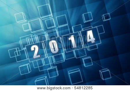 New Year 2014 In Blue Glass Blocks