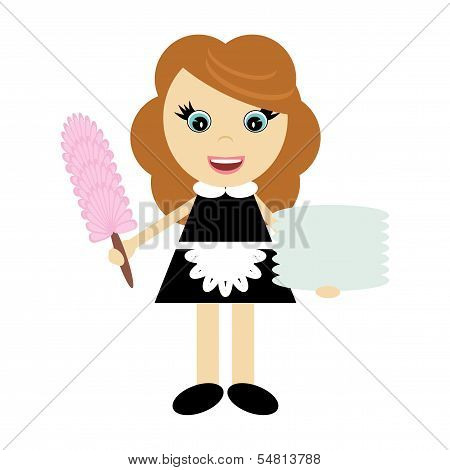 hotel chambermaid on white background