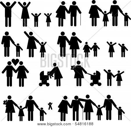 Icons set people and family 1