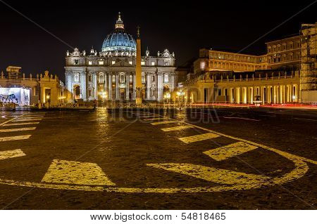 Saint Peter Square And Saint Peter Basilica At Night, Vatican City, Rome, Italy