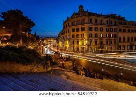 Marcello Theater And Traffic Trails On Via Marcello, View From Capitoline Hill, Rome, Italy