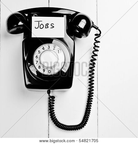 Retro Phone With A Jobs Note, Employment Search Concept