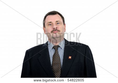 Mature Communist With Lenin Pin