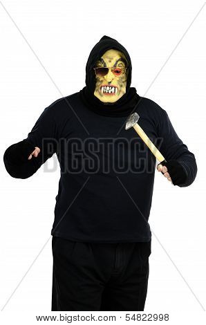 Maniac In A Mask Threatens With A Hammer