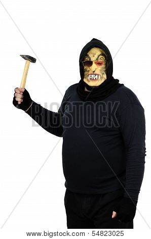 Maniac In A Mask Brandishes A Claw Hammer