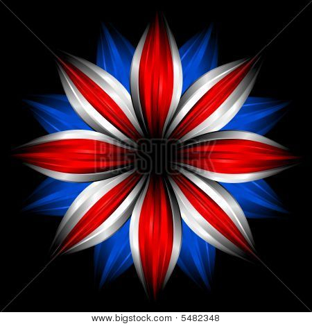 Flower With British Flag Colors On Black