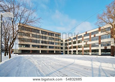 Modern office building on bright winter day