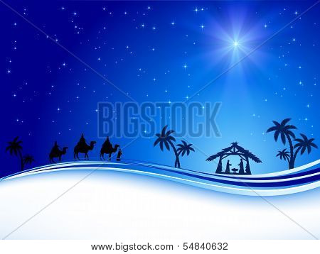 Christmas star on blue sky
