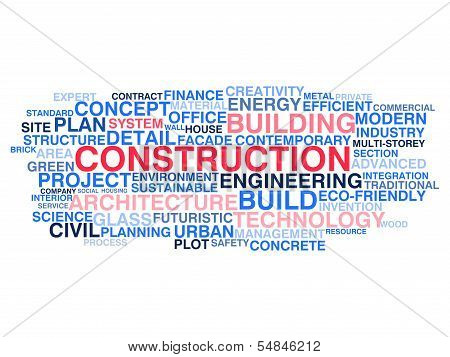 Building Construction And Civil Engineering. Word Cloud Concept