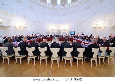 MOSCOW - OCT 10: Business meeting of representatives of 10 th anniversary of report and election of Assembly of International Congress of Industrialists and Entrepreneurs, Oct 10, 2013 Moscow, Russia.